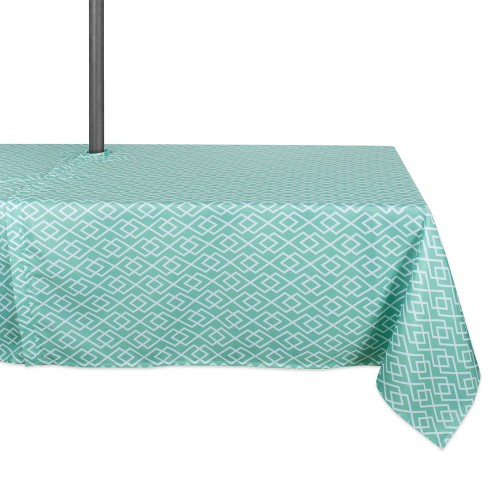 "60""x120"" Diamond Outdoor Tablecloth Aqua With Zipper - Design Imports - image 1 of 4"