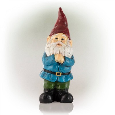 """12"""" Polyresin Bearded Garden Gnome Statue With Red Hat - Alpine Corporation"""