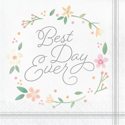 48ct Country Floral Best Day Ever Napkins