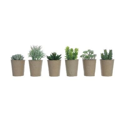 """Set of 6 6"""" x 4"""" Artificial Faux Succulent Plants in Paper Pots - 3R Studios"""