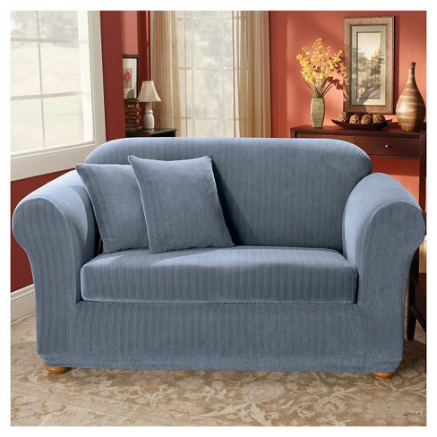 French Blue Stretch Pinstripe 2pc Sofa Slipcover - Sure Fit : Target