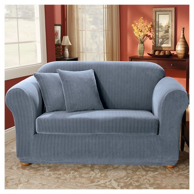 French Blue Stretch Pinstripe 2pc Sofa Slipcover   Sure Fit : Target