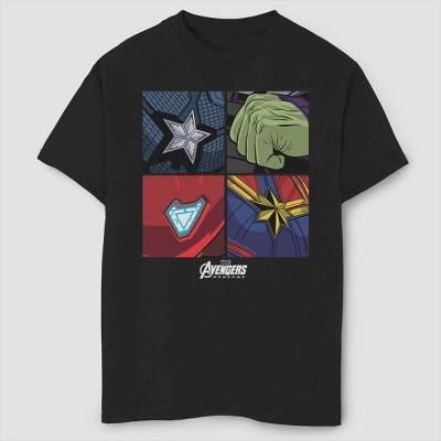 Boys' Marvel Hero Emblems Short Sleeve T-Shirt- Black