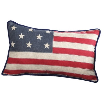Lakeside American Flag Decorative Throw Pillow - Patriotic 4th of July Décor