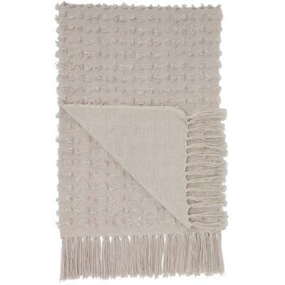 Life Styles Cut Fray Texture Throw Blanket Khaki - Mina Victory