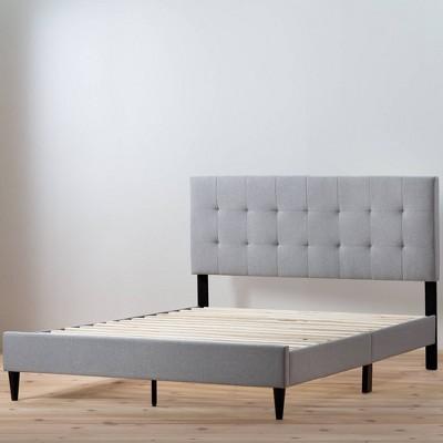 King Tara Upholstered Platform Bed Frame with Square Tufted Headboard Stone - Brookside Home