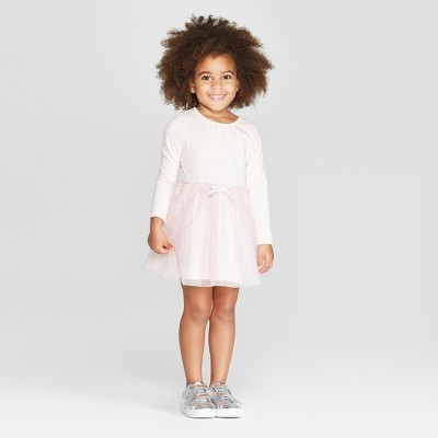 Toddler Girls' Long Sleeve Tutu Dress with Glitter Mesh Skirt - Cat & Jack™ Pink 2T