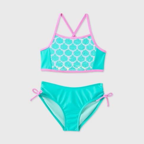 Girls' Halter 2pc Mermaid Flip Sequin Bikini Set - Cat & Jack™ Aqua - image 1 of 2