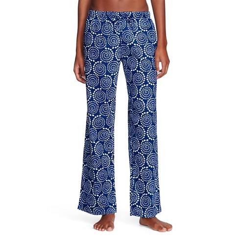 Flora By Rockflowerpaper Women S Woven Sleep Pajama Pants Pinwheel Navy M