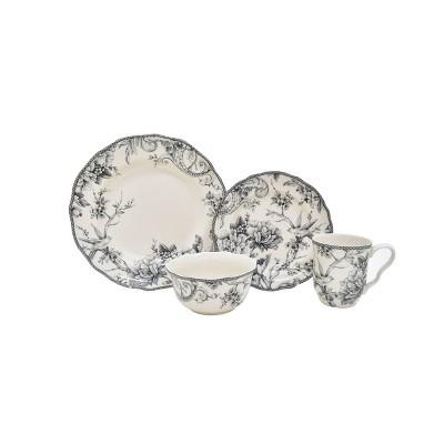 16pc Porcelain Adelaide Dinnerware Set Gray - 222 Fifth