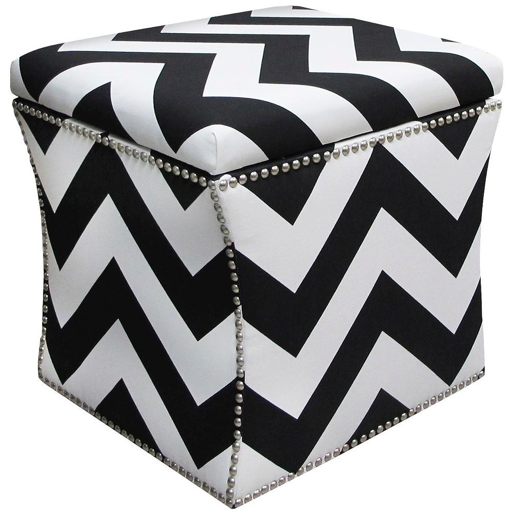 Nail Button Storage Ottoman Zig Zag Black/white Pewter Nail Buttons - Skyline Furniture Price