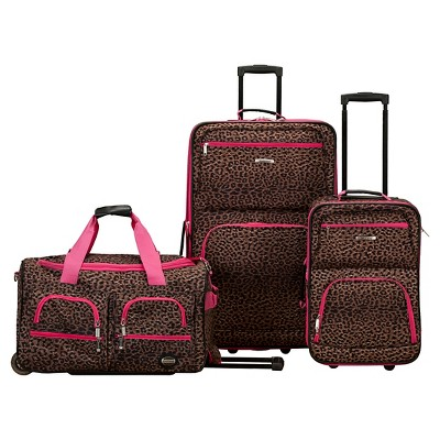 Rockland Spectra 3pc Luggage Set - Pink Leopard