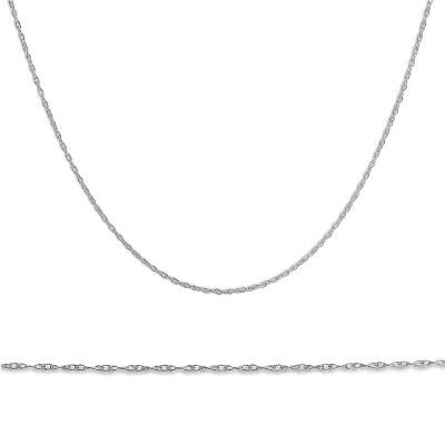 """Pompeii3 Solid 10k White Gold 18"""" Dainty Chain With Spring Ring"""