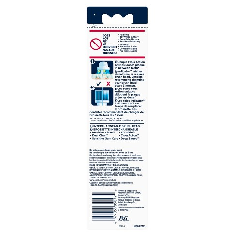 Oral-B Floss Action Replacement Electric Toothbrush Head - 4pk
