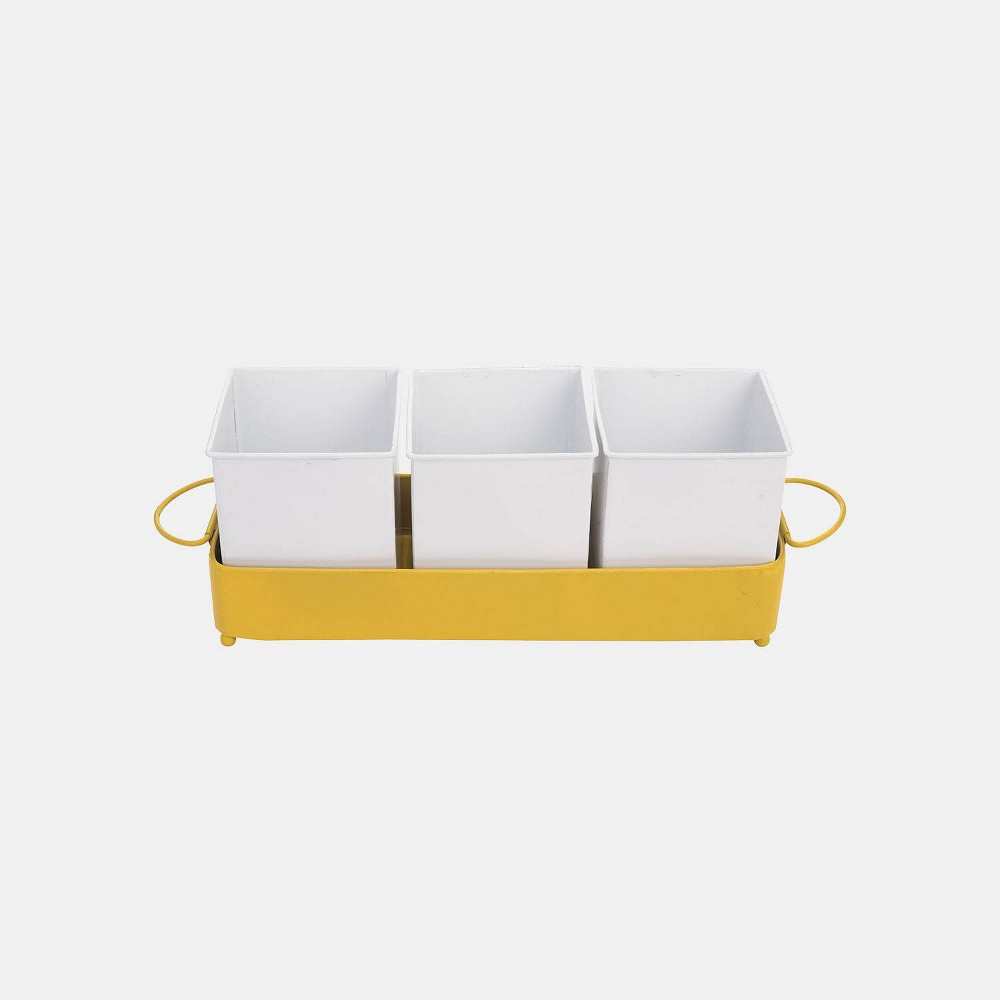 "Image of ""6"""" Metal Divided Bin Trio Mustard - Foreside Home & Garden"""