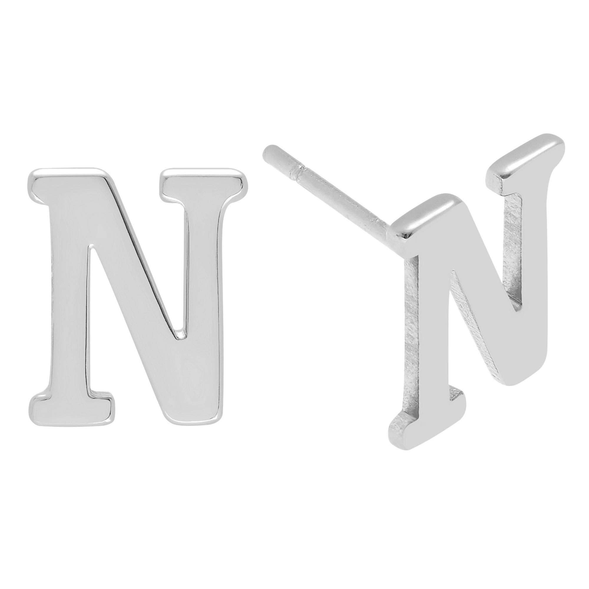 Women's Journee Collection Initial Stud Earrings in Sterling Silver - Silver, N, Silver Letter - N