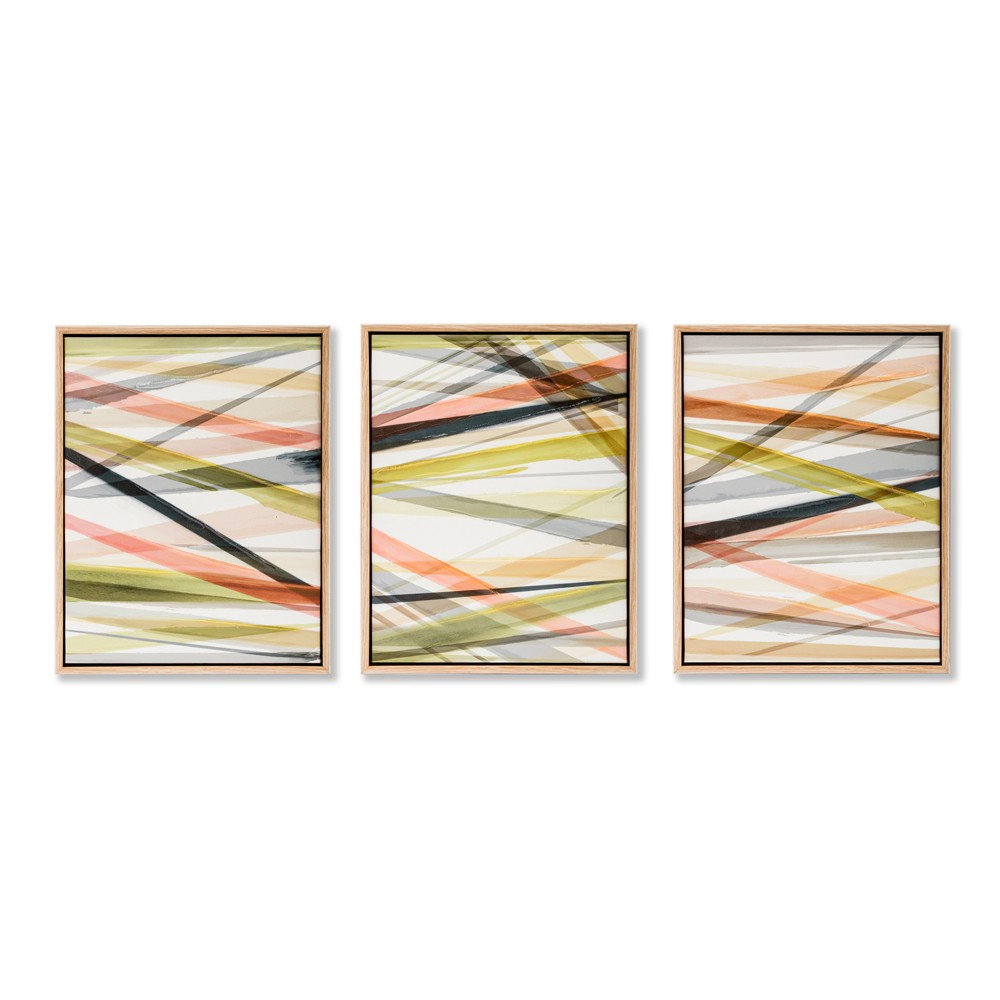 Layered 3pc Tinted Gel Framed Wall Canvas 11 X 14 X 1.75 - Project 62, Orange