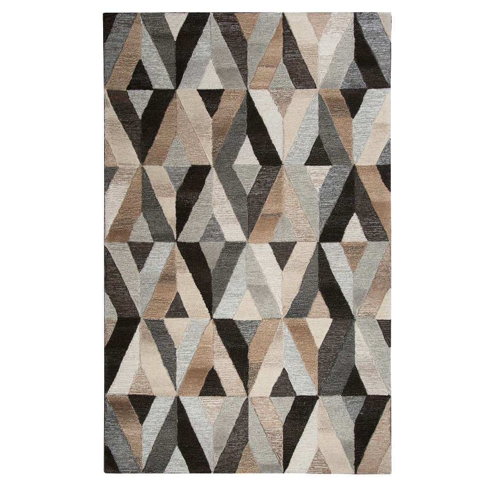 Image of Dark Gray Geometric Rug (8'x10') - Rizzy Home