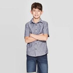 fc102070a Boys' Stars Print Short Sleeve Button-Down Shirt - Cat & Jack™ Gray