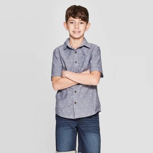 Boys' Stars Print Short Sleeve Button-Down Shirt - Cat & Jack™ Gray - image 1 of 3