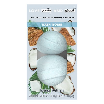 Love Beauty & Planet Coconut Water & Mimosa Flower Fizzing Freshness Bath Bombs - 3.9oz/2ct