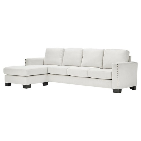 Carnegie Hill Nailhead Chaise Sofa Sectional White - Inspire Q - image 1 of 6