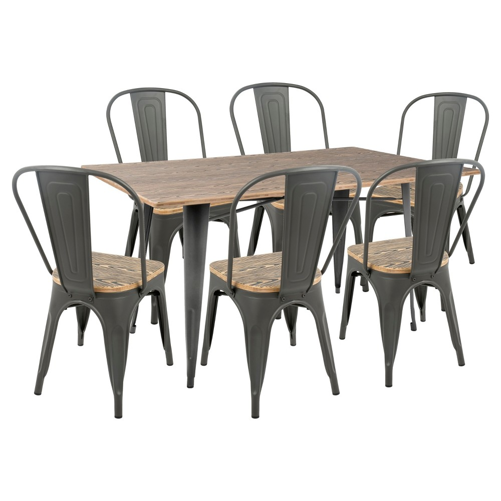 Oregon 7 Piece Industrial Farmhouse Dining Set - Grey/Brown - Lumisource, Gray