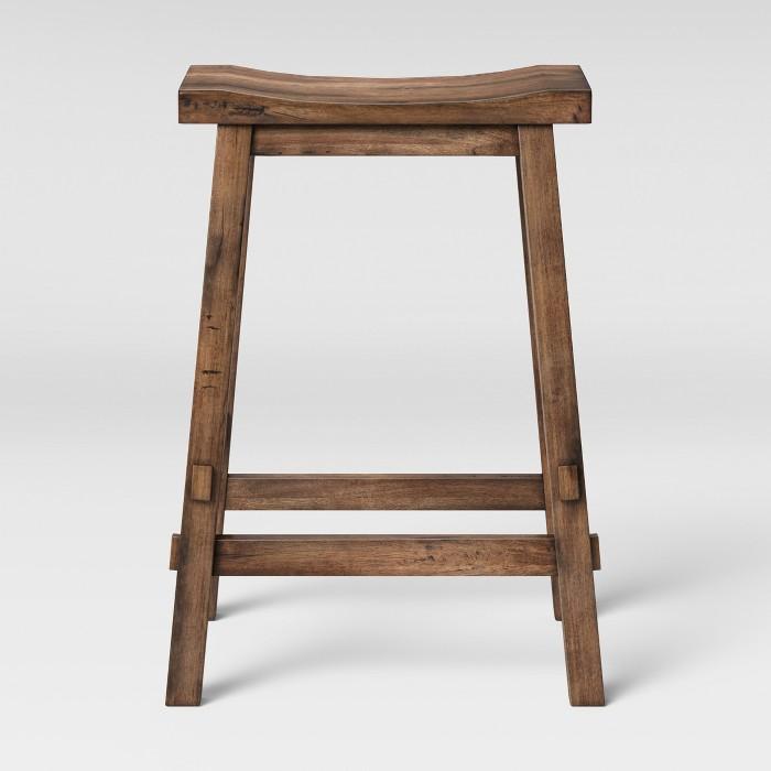 Halifax Farmhouse Wood Counter Stool Brown - Threshold™ - image 1 of 3