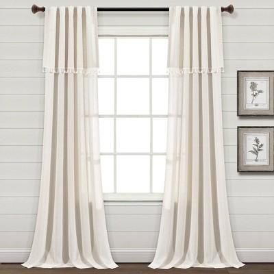 "Set of 2 (84""x40"") Ivy Tassel Faux Linen Light Filtering Window Curtain Panels - Lush Décor"