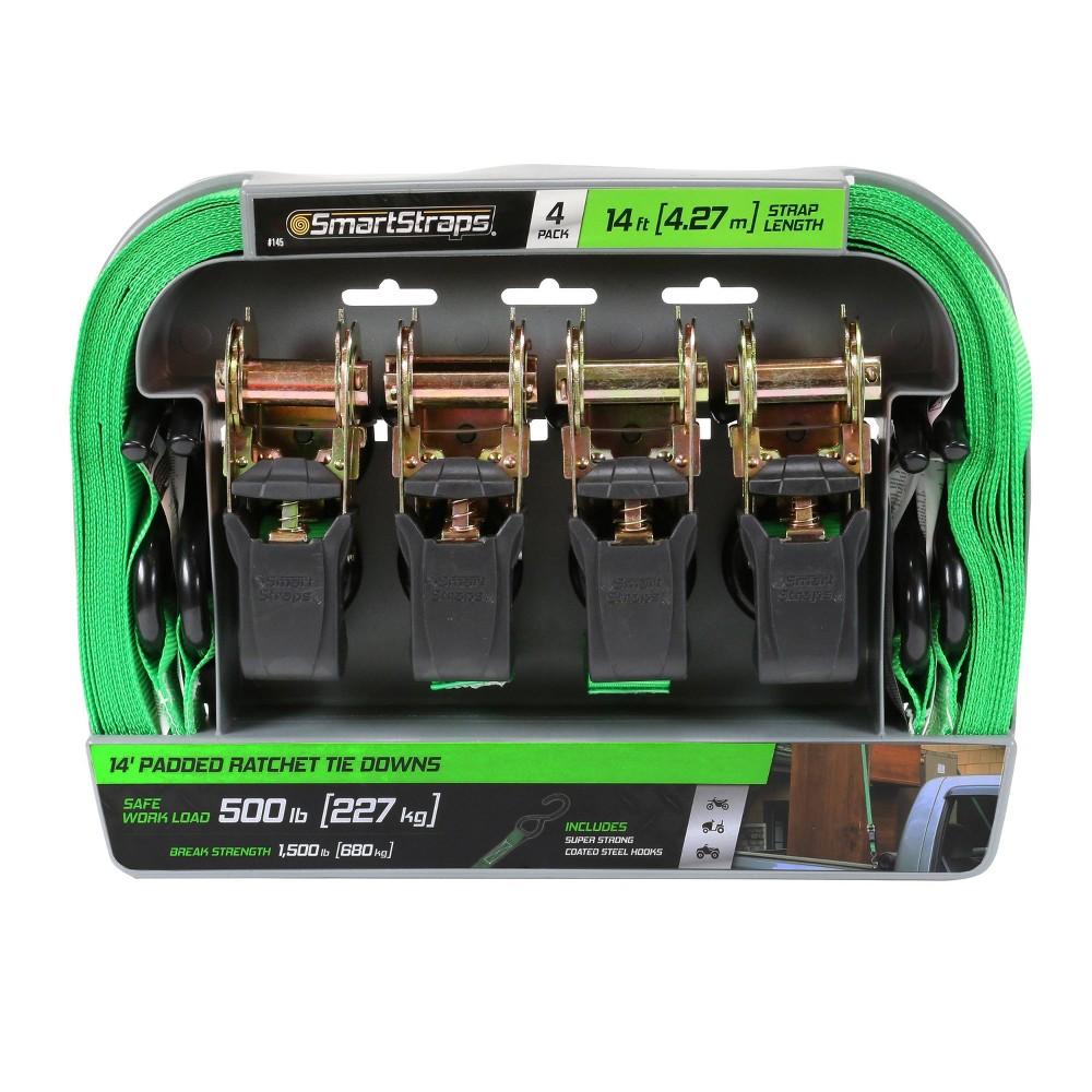SmartStraps Ratchet Straps 14ft GRN Premium RatchetX 4pk 1,500lb