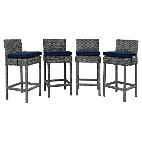 Summon 4pk All-Weather Wicker Patio Bar Stool with Sunbrella Fabric - Modway - image 1 of 2