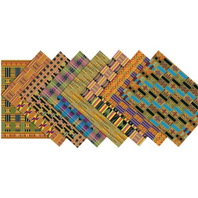 Roylco Assorted Design African Textile Paper, 8-1/2 x 11 Inches, pk of 32