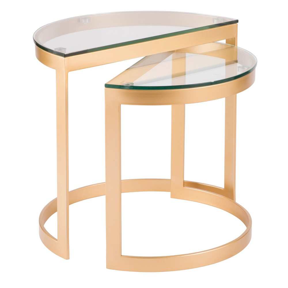 Demi Contemporary Nesting Tables Gold with Glass Top - Lumisource, Gold Clear