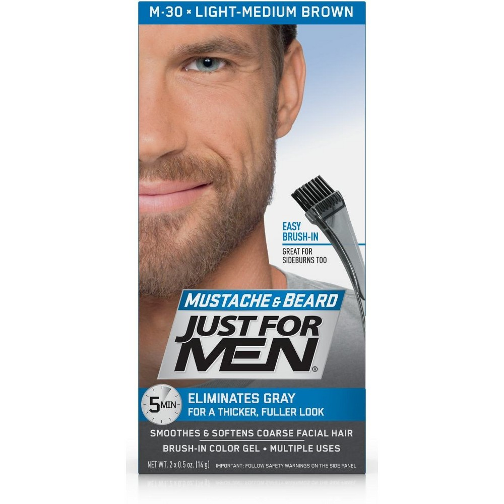 Image of Just For Men Mustache and Beard Men's Hair Color, Light-Medium Brown M-30