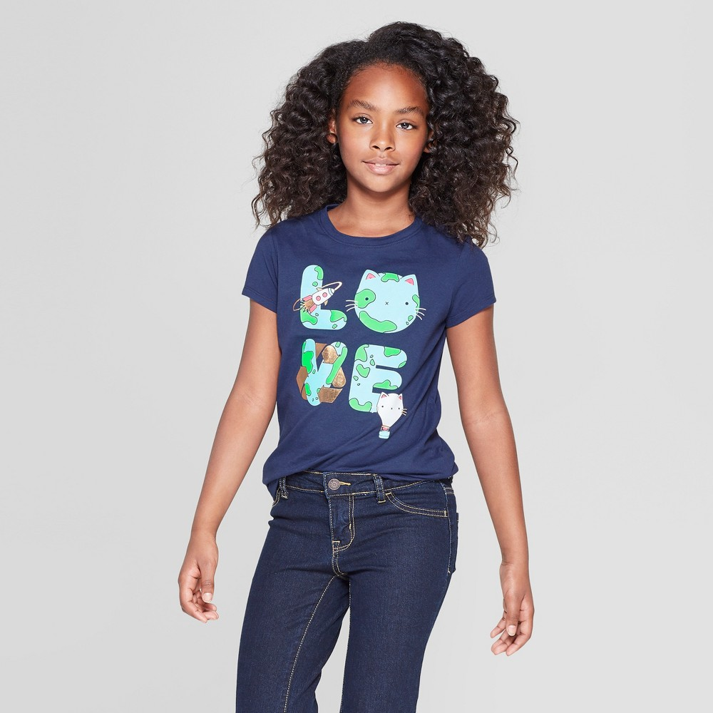 Girls' Short Sleeve Love Graphic T-Shirt - Cat & Jack Navy XL, Blue