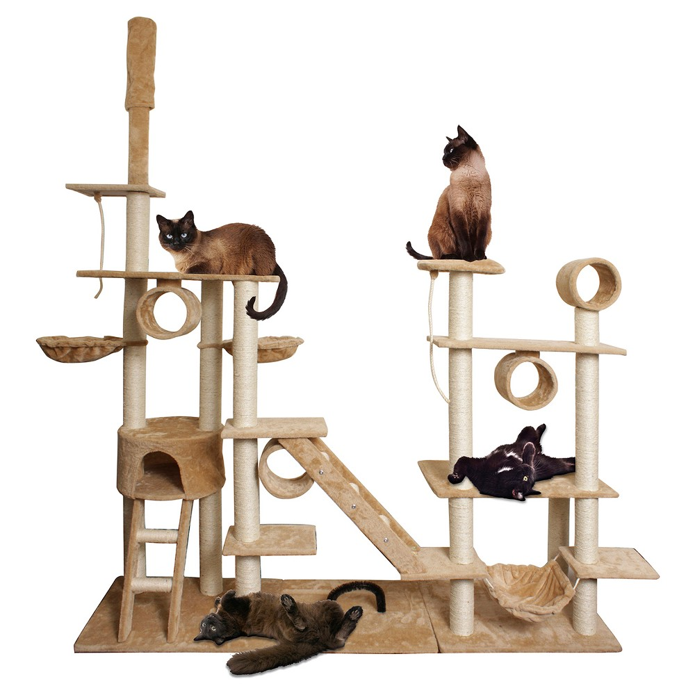 Paws & Pals Cat Scratch Tree Condo Furniture 96\ - Tan and White, Beige