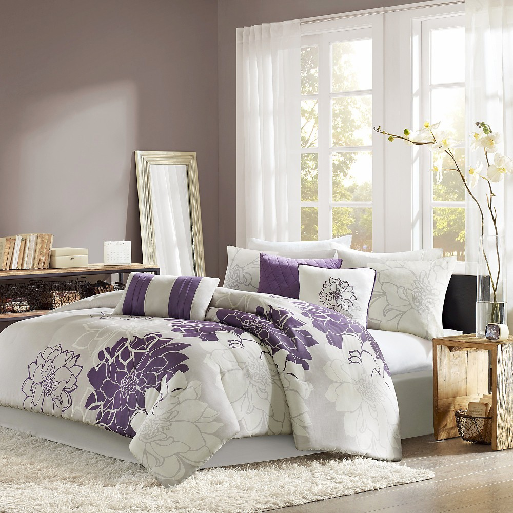 Gray/Purple Victoria Comforter Set King 7pc
