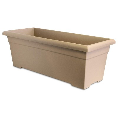 HC Companies ROP28000A34 28-Inch Outdoor Plastic Romana Deck Planter for Flowers, Vegetables, and Succulents, Sandstone