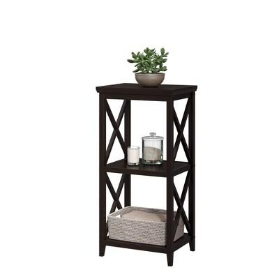 Three Shelf Cross Frame Etagere Tower Espresso Brown - RiverRidge Home