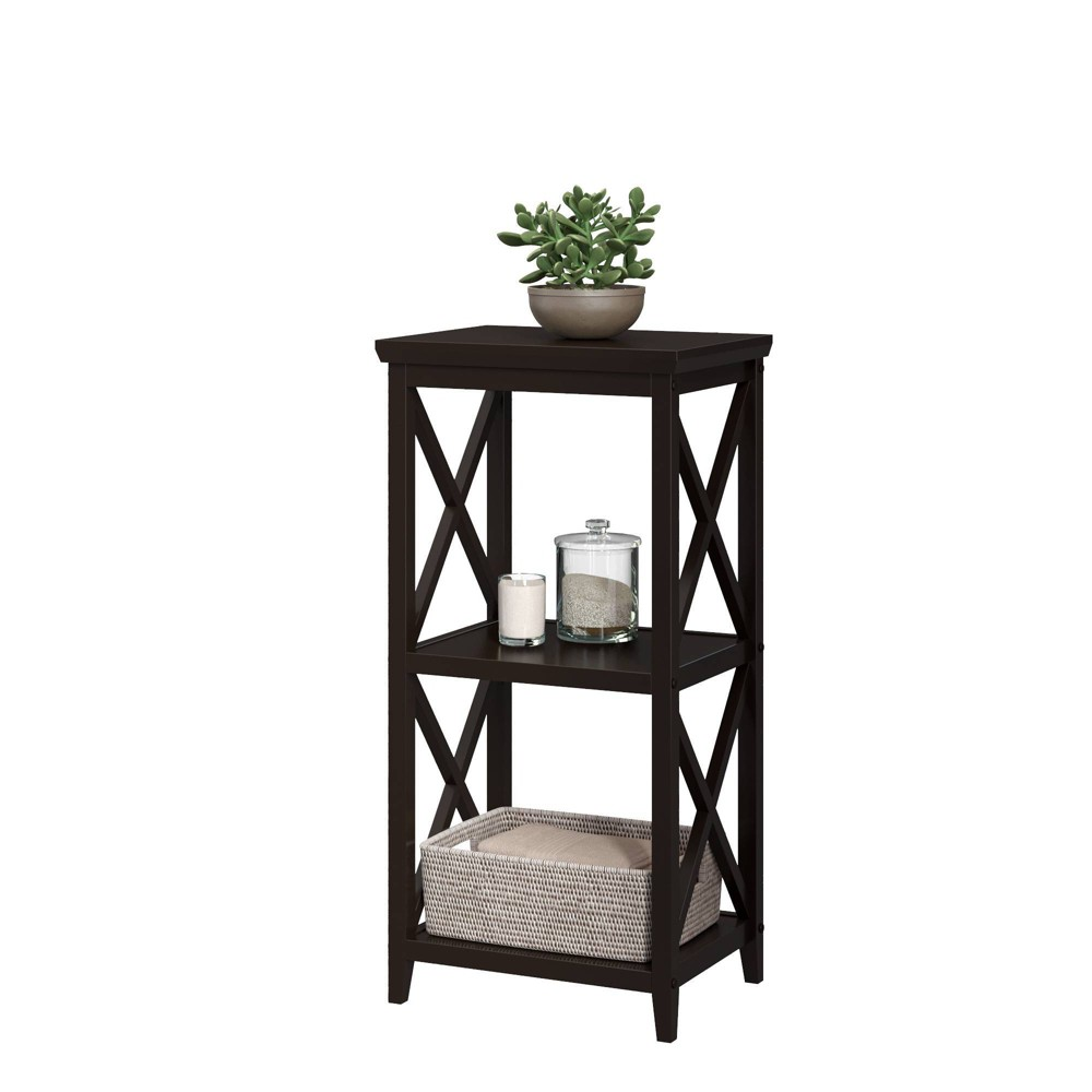Image of 3 Shelf Cross Frame Etagere Tower Espresso Brown