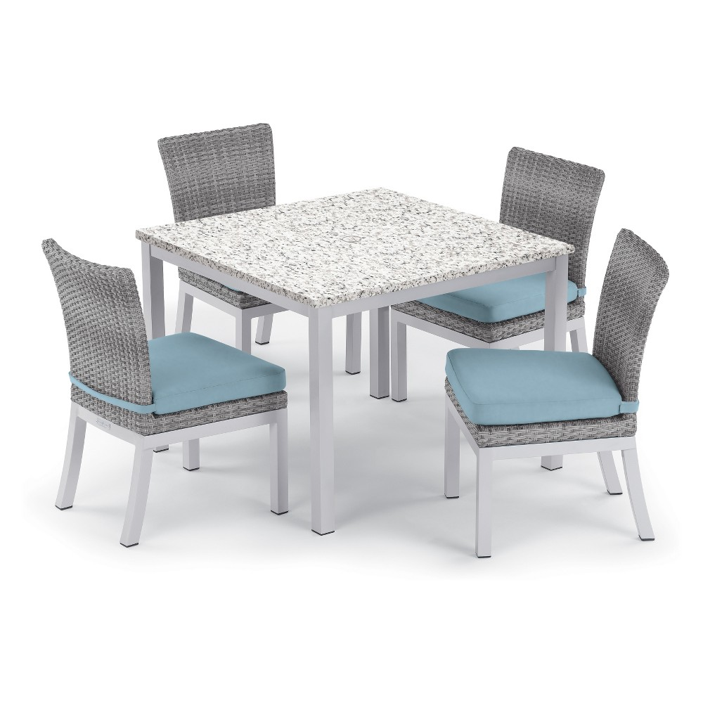 "Image of ""5pc Travira 39"""" Ash Dining Table & Argento Side Chair Set Ice Blue Cushions - Oxford Garden, White Blue"""