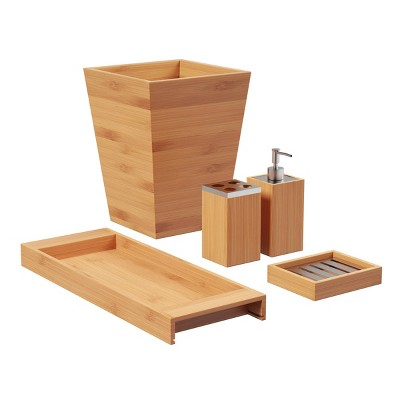 5pc Bamboo Bath Accessories Set Brown - Hastings Home