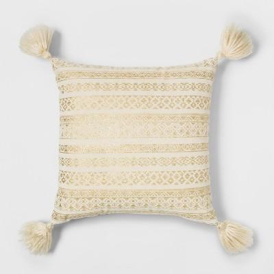 Metallic Global Stripe Velvet Square Throw Pillow Cream/Gold - Opalhouse™