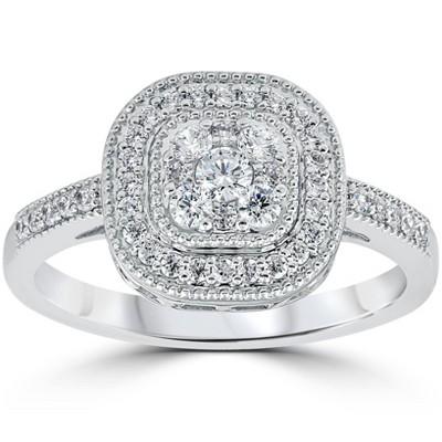 Pompeii3 3/8Ct Vintage Natural Diamond Cushion Halo Shape Ring White Gold