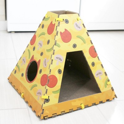 Quirky Kitty Pizza Cardboard Cat Scratch House