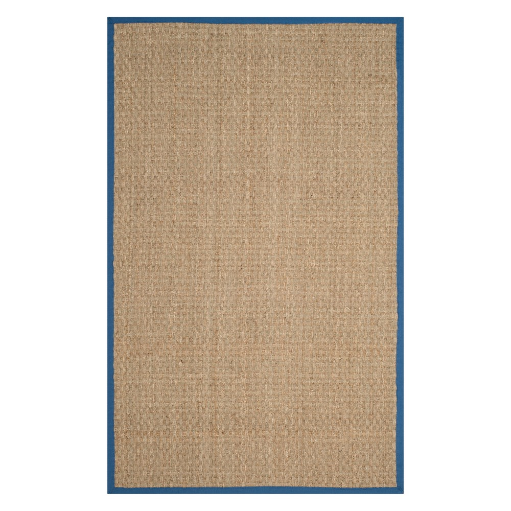 5'X8' Solid Loomed Area Rug Natural/Navy (Natural/Blue) - Safavieh