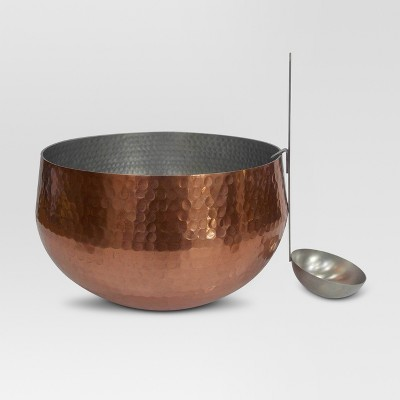 Round Aluminum Serving Bowl - Rose Gold - Hammered - Threshold™