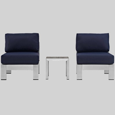 Shore 3pc Aluminum Outdoor Patio Sectional Sofa Set - Modway