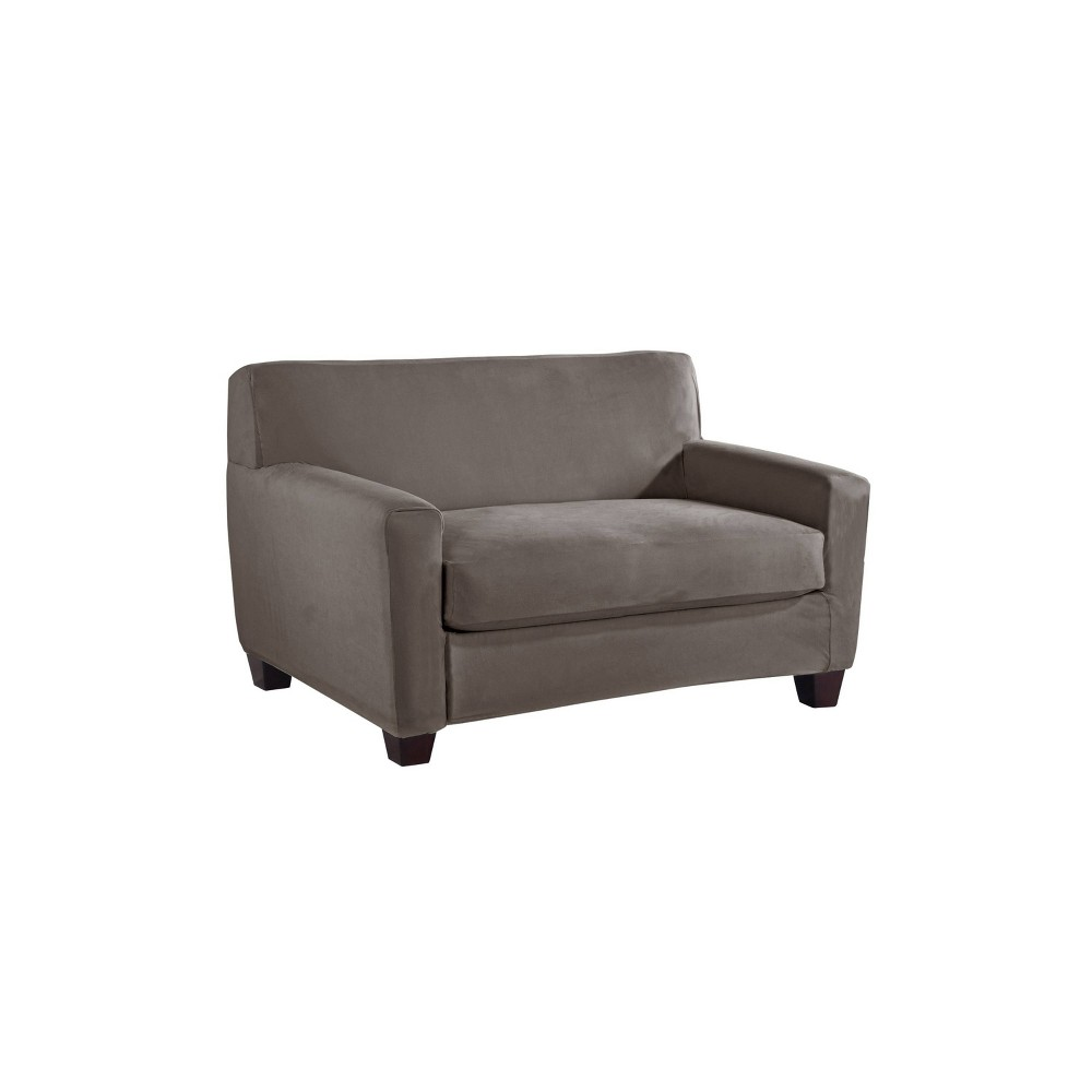 Image of 2pc Stretch Fit Microsuede Furniture cover Box loveseat Gray - Serta