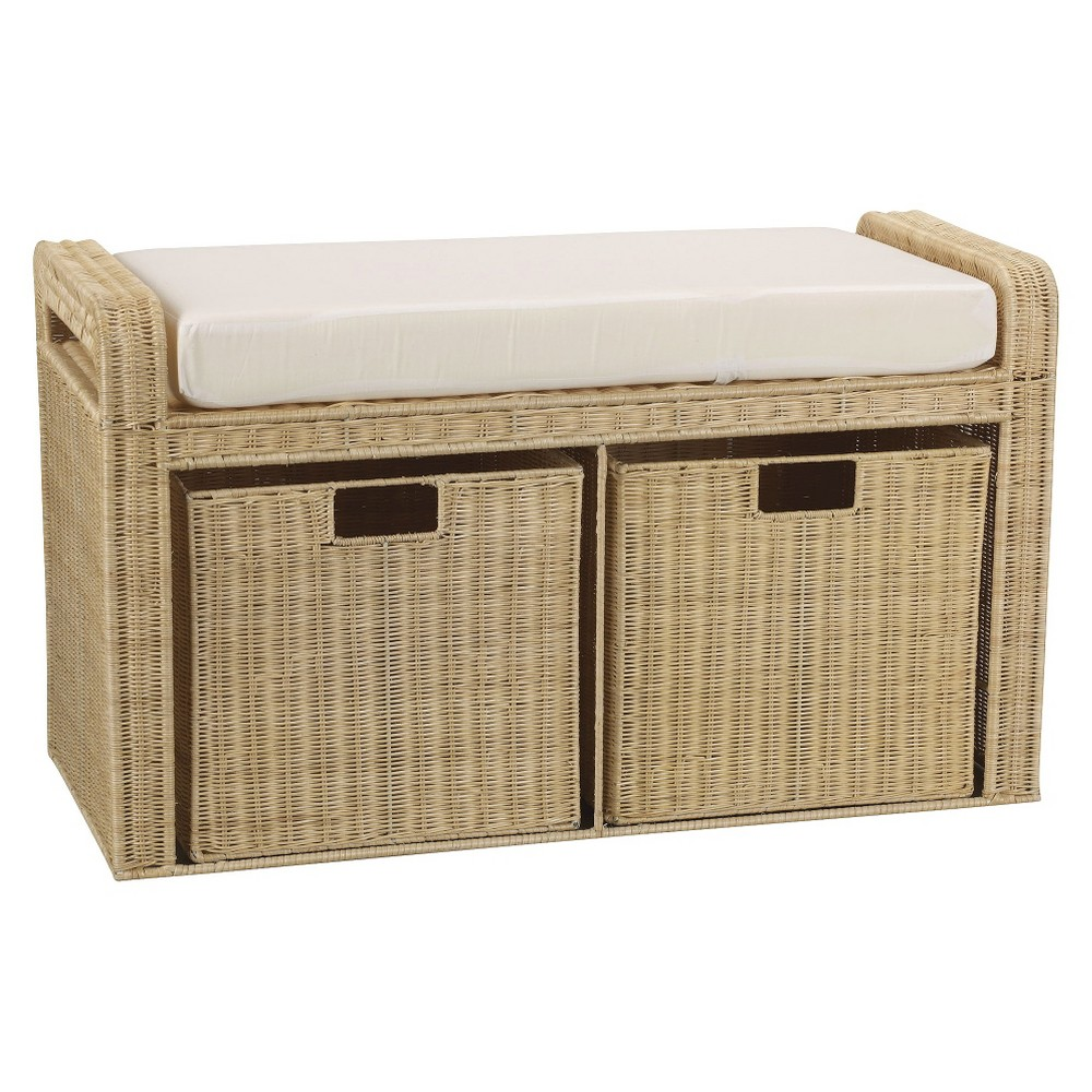 Household Essentials Rattan Storage Bench - Natural, Off White